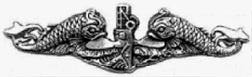 silver dolphins --- submarine service qualification pin, US Navy