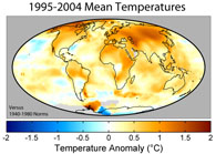 Map of Global Temperatures 1995-2005