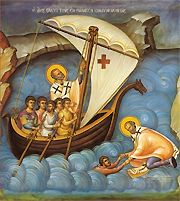an icon of St Nicholas coming to the aid of sailors in peril