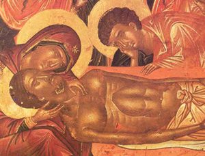 Christ's body in death, removed from the cross; Mary his mother and St. John weep over him