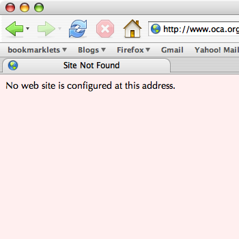 www.oca.org at 20:45 24 March 2005: no website is configured at this address